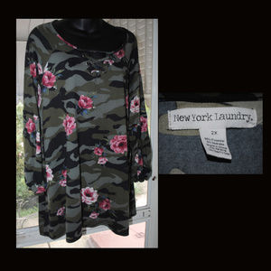 EUC NEW YORK LAUNDRY Floral Camo Tunic Sz 2X